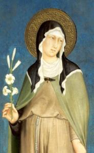 Fresk Simone Martini przedstawiający św. Klarę